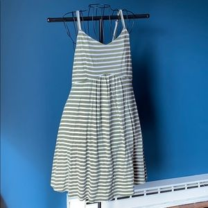 Green and white striped sun dress